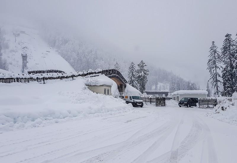 Stadion Schnee geräumt